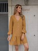 Yellow Casual Long Sleeve Paneled A-Line Dresses