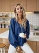Blue V Neck Plain Cotton-Blend Long Sleeve Shirts & Tops