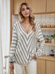 Gray Casual Striped Cotton-Blend Shirts & Tops