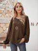 Brown Long Sleeve Cotton-Blend Crew Neck Shirts & Tops
