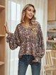 Fuchsia Paneled V Neck Cotton-Blend Long Sleeve Shirts & Tops