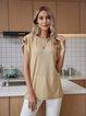 Apricot Paneled Short Sleeve Plain Casual Shirts & Tops