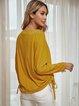 Yellow Long Sleeve Paneled Crew Neck Shirts & Tops