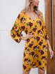 Yellow A-Line Cotton-Blend Printed Short Sleeve Dresses
