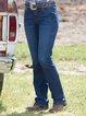 Blue Plain Casual Buttoned Jeans