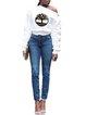 Women's loose button long-sleeved diagonal collar T-shirt top