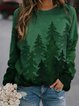 Green Crew Neck Casual Long Sleeve Printed Sweatshirt