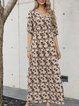 Apricot A-Line Boho Floral Cotton-Blend Dresses