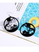 Spider Pumpkin Witch Black Cat Round Acrylic Halloween Earrings