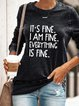 Vintage Letter Printed Plus Size Long Sleeve Crew Neck Casual Tops