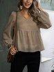 Apricot Long Sleeve V Neck Paneled Cotton-Blend Shirts & Tops