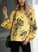 Yellow Printed Boho Long Sleeve Crew Neck Shirts & Tops