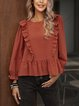 Red Crew Neck Casual Cotton-Blend Paneled Shirts & Tops