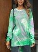Green Ombre/tie-Dye Cotton-Blend Casual Blouse