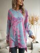 Pink Long Sleeve Ombre/tie-Dye Cotton-Blend Dresses