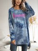 Blue Cotton-Blend Ombre/tie-Dye Long Sleeve Paneled Dresses