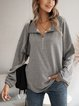 Gray Cotton-Blend Stand Collar Long Sleeve Shirts & Tops