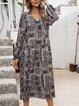 Black Long Sleeve Cotton-Blend Floral Paneled Dresses
