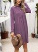 Purple Crew Neck Long Sleeve Plain Cotton-Blend Dresses
