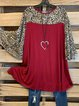Vintage Statement Leopard Plus Size Frill Sleeve Crew Neck Casual Tops