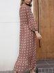 Yellow V Neck Cotton-Blend Long Sleeve Dresses