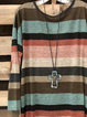 Multicolor Long Sleeve Crew Neck Cotton-Blend Shirt & Top
