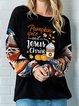 Black Cotton-Blend Casual Tribal Shirts & Tops