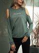 Army Green Plain Cold Shoulder Cotton-Blend Shirts & Tops