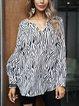 Black Long Sleeve V Neck Cotton-Blend Paneled Shirts & Tops