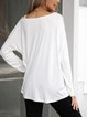 White Crew Neck Long Sleeve Cotton-Blend Shirts & Tops