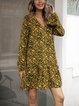 Black Casual Floral-Print Cotton-Blend Swing Dresses
