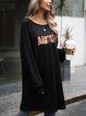 Black Crew Neck Long Sleeve Paneled Cotton-Blend Dresses