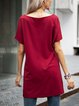 Red Casual Paneled Short Sleeve Cotton-Blend Dresses