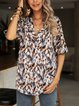 Blue Cotton-Blend Casual Printed Floral Shirts & Tops