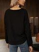 Black Paneled Casual Long Sleeve Crew Neck Shirts & Tops