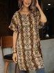 Green Leopard Crew Neck Cotton-Blend Short Sleeve Dresses