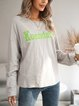 Gray Ombre/tie-Dye Paneled Casual Crew Neck Shirts & Tops