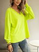 Green Long Sleeve V Neck Cotton-Blend Solid Shirts & Tops