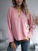 Pink Plain Casual Paneled Cotton-Blend Shirts & Tops