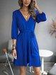 Royal Blue Solid Paneled Cotton-Blend 3/4 Sleeve Dresses