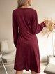 Red V Neck Cotton-Blend Long Sleeve Paneled Dresses