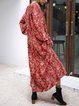 Red Printed Floral Casual Dresses