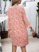Red Paneled Cotton-Blend Long Sleeve Dresses