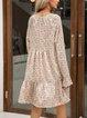 Black Cotton-Blend Floral Long Sleeve Dresses