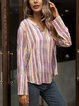 Pink V Neck Cotton-Blend Striped Casual Shirts & Tops