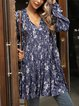Blue V Neck Paneled Long Sleeve Cotton-Blend Dresses