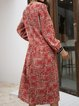 Red Cotton-Blend Paneled Long Sleeve Dresses