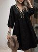 Black Paneled 3/4 Sleeve Cotton-Blend Dresses