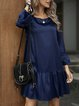 Deep Blue Cotton-Blend Crew Neck Holiday Solid Dresses