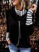 Black Stand Collar Stripes Long Sleeve Cotton-Blend Shirts & Tops